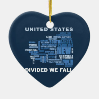 United States Divided We Fall HQ Colored Gifts Ceramic Ornament