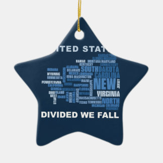 United States Divided We Fall HQ Colored Gifts Ceramic Star Ornament