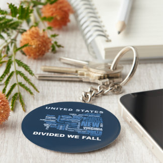United States Divided We Fall HQ Colored Gifts Keychain
