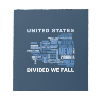 United States Divided We Fall HQ Colored Gifts Notepad