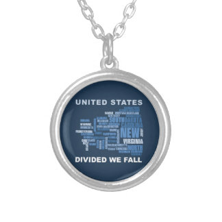United States Divided We Fall HQ Colored Gifts Silver Plated Necklace