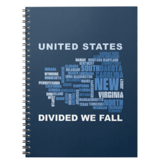United States Divided We Fall HQ Colored Gifts Spiral Notebook