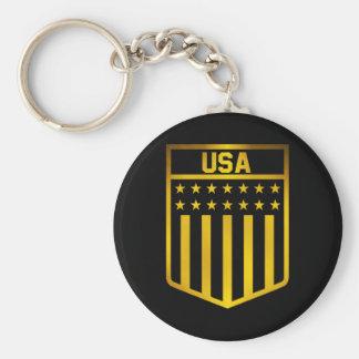 United States Emblem Basic Round Button Keychain