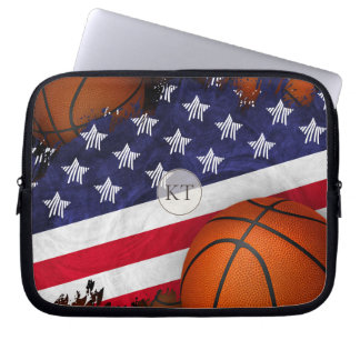 United States flag and basketball monogrammed Laptop Sleeve