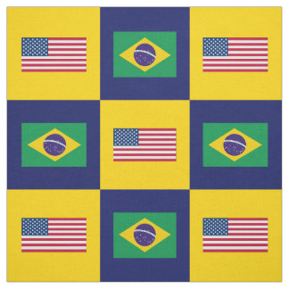 United States Flag, Brazil Flag on Blue & Yellow Fabric