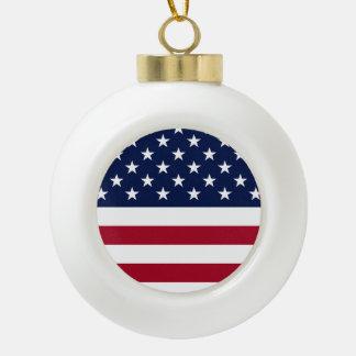 United States Flag Ceramic Ball Ornament