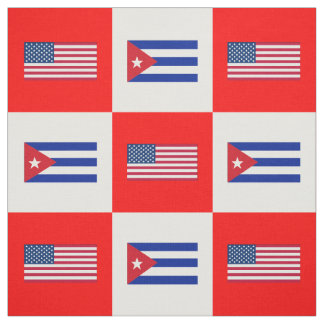 United States Flag, Cuba Flag on White & Red BG Fabric