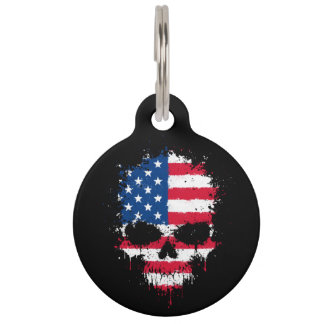 United States Flag Dripping Splatter Skull Pet Tag