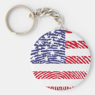 united states flag fingerprint basic round button keychain