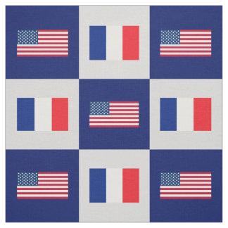 United States Flag, France Flag on Blue & Lt Gray Fabric