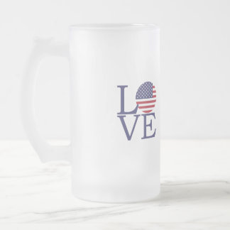 United States Flag Frosted Glass Beer Mug