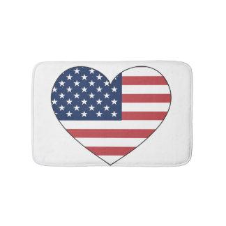 United States Flag Heart Bath Mat