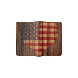 United+States Flag Heart on Wood theme Passport Holder