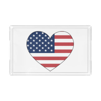 United States Flag Heart Serving Tray