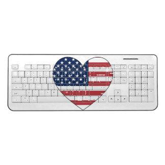 United States Flag Heart Wireless Keyboard