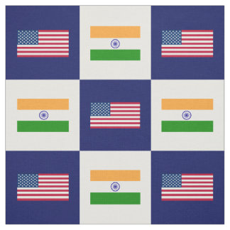United States Flag, India Flag on Blue & White Fabric