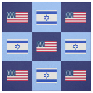 United States Flag, Israel Flag on Blue & Lt Blue Fabric
