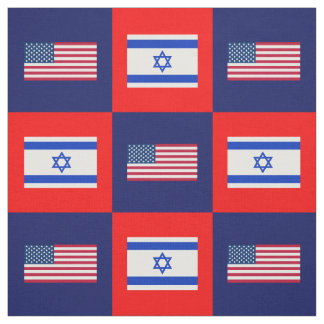 United States Flag, Israel Flag on Blue & Red Fabric