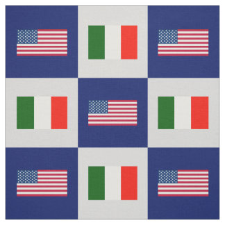 United States Flag, Italy Flag on Blue & Lt Gray Fabric