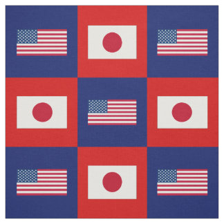 United States Flag, Japan Flag on Blue & Red Fabric