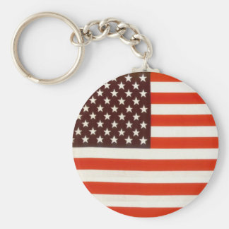 United States Flag Basic Round Button Keychain