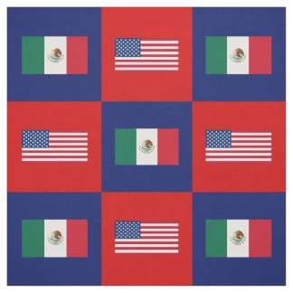 United States Flag, Mexico Flag on Blue & Red Fabric
