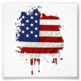 United States Flag Paint Splatter Photo Print