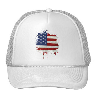 United States Flag Paint Splatter Trucker Hat