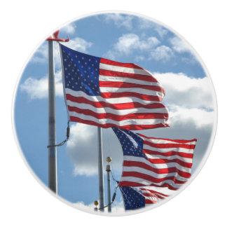 United States Flag Photograph Ceramic Knob