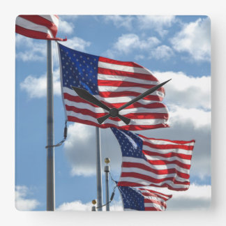 United States Flag Photograph Square Wall Clock