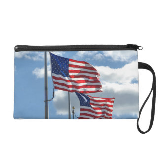United States Flag Photograph Wristlet Clutches