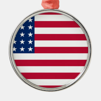 United States Flag Silver-Colored Round Ornament