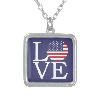 United States Flag Silver Plated Necklace