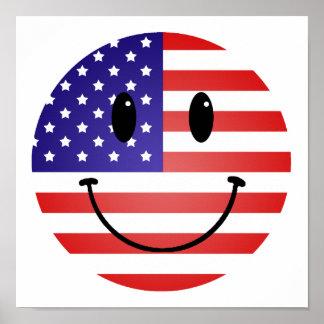 United States Flag Smiley Poster