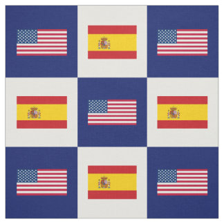 United States Flag, Spain Flag on Blue & White Fabric