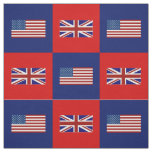 United States Flag, UK Flag on Blue and Red Fabric