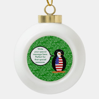 United States Holiday Mr. Penguin Ceramic Ball Ornament