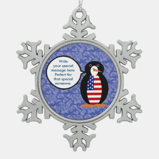 United States Holiday Mr. Penguin Pewter Snowflake Ornament