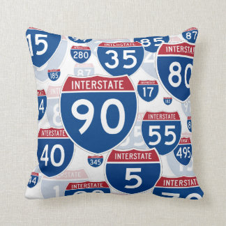 United States Interstate Highway Signs Throw Pillow