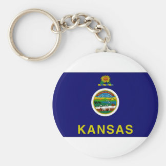 United States Kansas Flag Basic Round Button Keychain