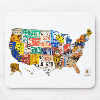 United States License Plate Map Mouse Pad