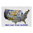 United States License Plate Map Poster