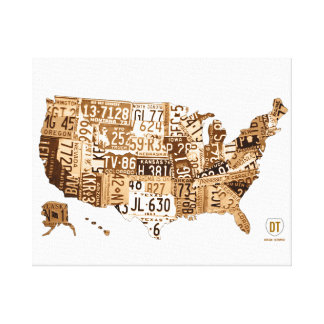 United States License Plate Map Sepia Wrapped Cnvs Canvas Print