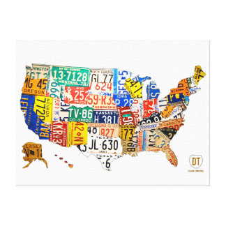 United States License Plate Map Wrapped Canvas