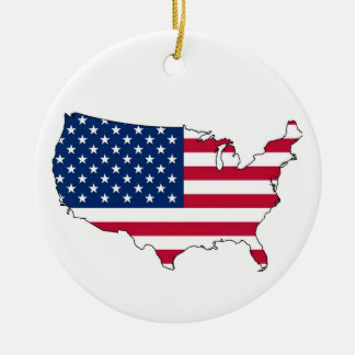 United States Mainland Flag Map Round Ceramic Ornament