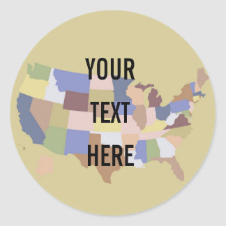 United States Map background Classic Round Sticker