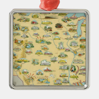 United States Map Silver-Colored Square Ornament