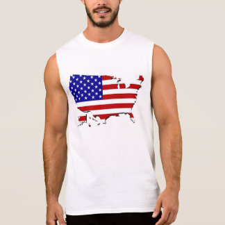 United States Map & Stars-N-Stripes Flag Sleeveless Shirt