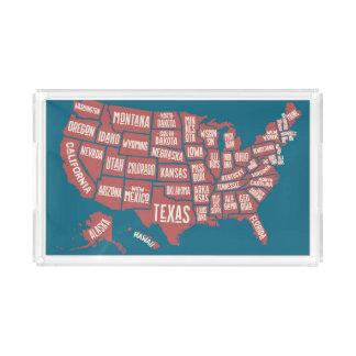 United States Map   Typography Acrylic Tray