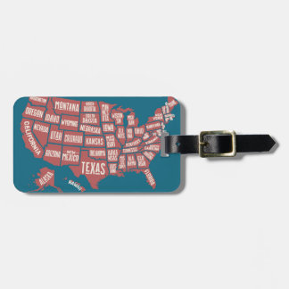 United States Map   Typography Bag Tag
